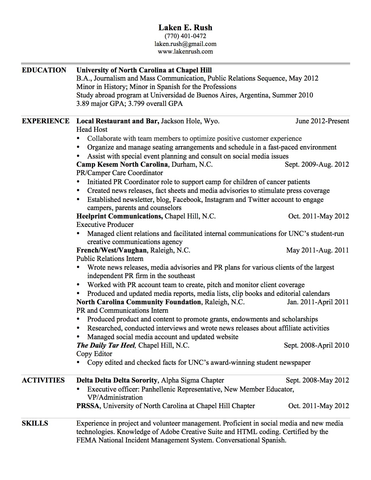 Web Resume 2013 Laken Rush